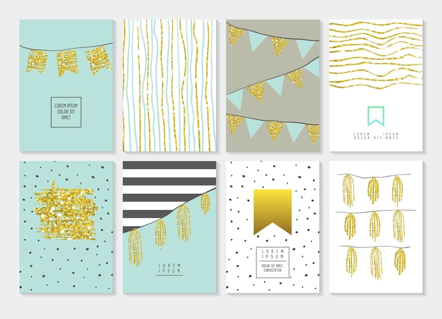 Verjaardag uitnodigingskaarten instellen. gouden glitter flyer, banner, poster sjabloon. abstracte gouden partijpatronen.