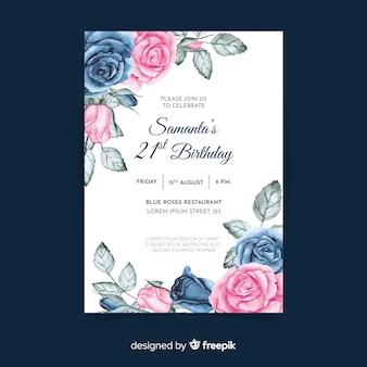Verjaardag uitnodigingssjabloon met bloemen thema
