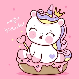 Verjaardag unicorn prinses cartoon bedrijf toverstaf zitten op cupcake kawaii dier