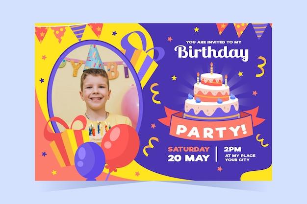 Verjaardag verjaardagsuitnodiging sjabloon met foto