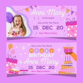 Verjaardag viering banner ontwerp