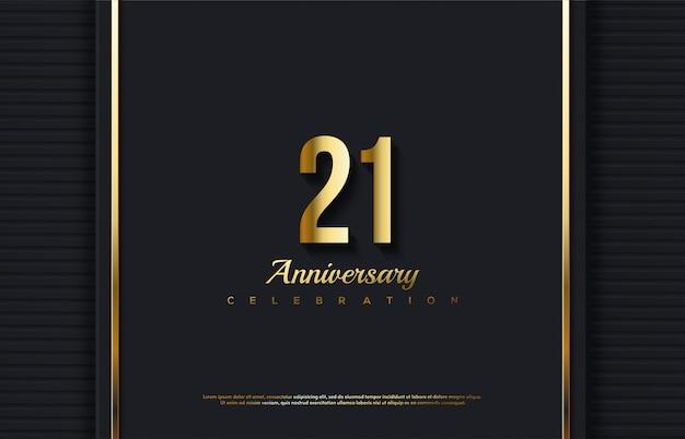 Verjaardag viering nummer met het nummer 21 in goud op een luxe achtergrond.