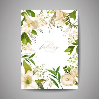 Verjaardag wenskaart, uitnodiging of felicitatie sjabloon met bloemen, groene bloemen bladeren, poster viering partij ontwerp illustratie in vector