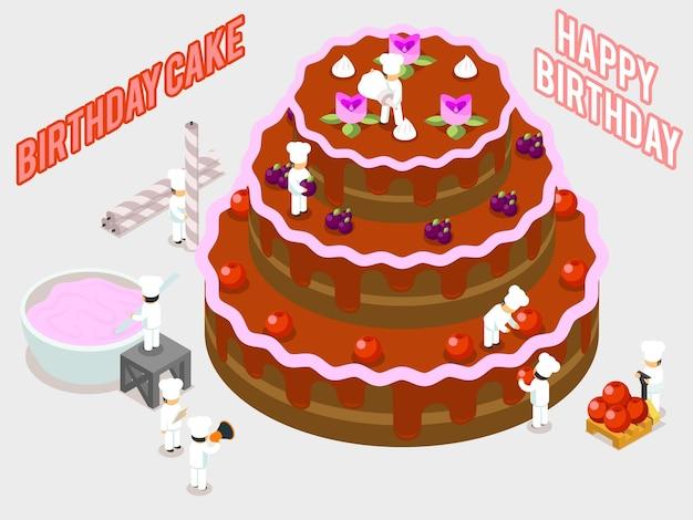 Verjaardag zoete cake decoratie. isometrische mensen die een cakeillustratie verfraaien