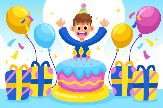Verjaardagsachtergrond met cake en jongen