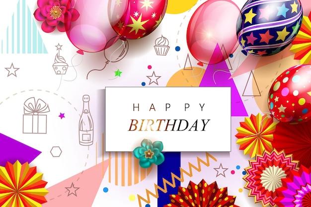 Verjaardagsachtergrond met geometrische vormen, realistische ballonnen en papieren fans