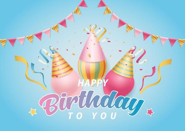 Verjaardagsachtergrond met kleurrijke ballonnen