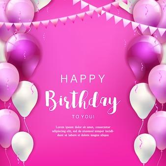 Verjaardagsachtergrond met kleurrijke ballons en confettien