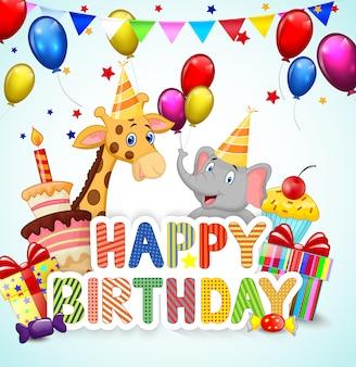 Verjaardagsachtergrond met olifant en giraf
