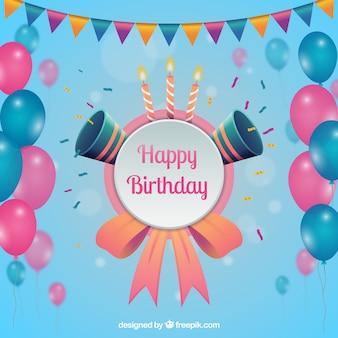 Verjaardagsachtergrond met roze en blauwe ballons