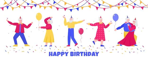 Verjaardagsbanner met bejaarde mensen dansen, vlakke geïsoleerde illustratie.