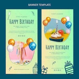 Verjaardagsbanners met verlooptextuur