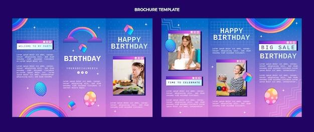 Verjaardagsbrochure met gradiënt retro vaporwave