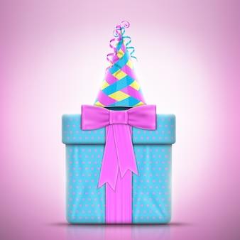 Verjaardagscadeau en feestmuts.