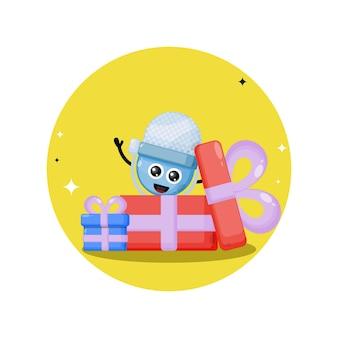 Verjaardagscadeau microfoon schattig karakter mascotte