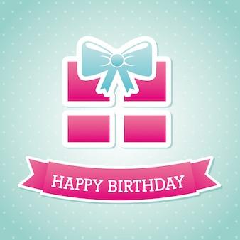 Verjaardagscadeau over blauwe achtergrond vectorillustratie