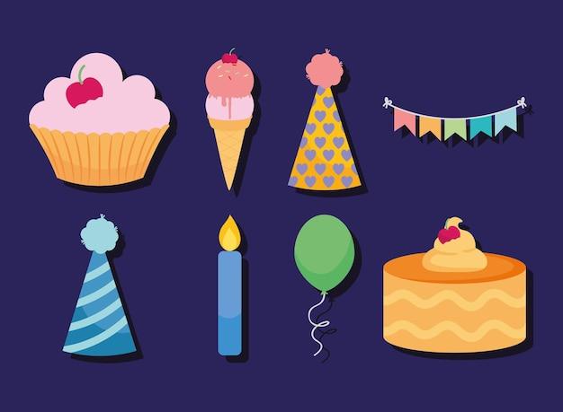 Verjaardagsdecoraties en etensset