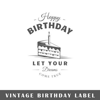 Verjaardagsetiket dat op witte achtergrond wordt geïsoleerd