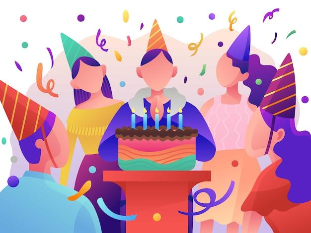 Verjaardagsfeest, geschenkdozen. platte vectorillustratie
