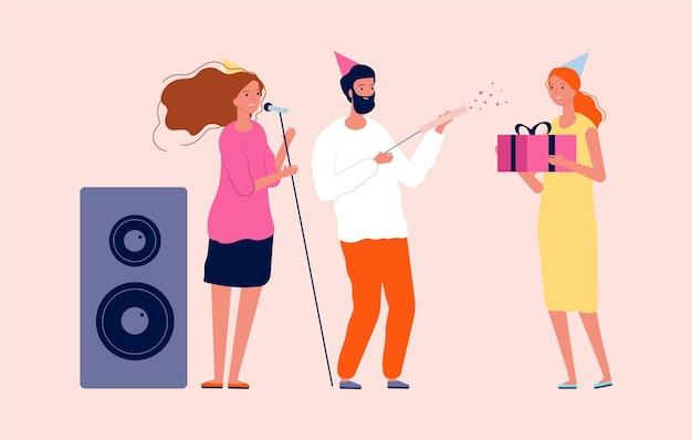 Verjaardagsfeest. man vrouw feliciteren met hun vriend. vrolijk feest met muziek, confetti en cadeautjes. cartoon viering mensen vector illustratie. verjaardag vieren, vieren en feliciteren