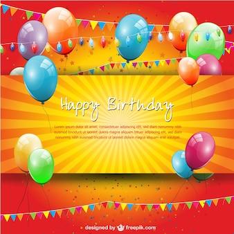 Verjaardagsfeestje ballonnen gratis template