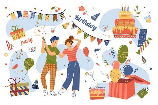 Verjaardagsfeestje concept geïsoleerde elementen set