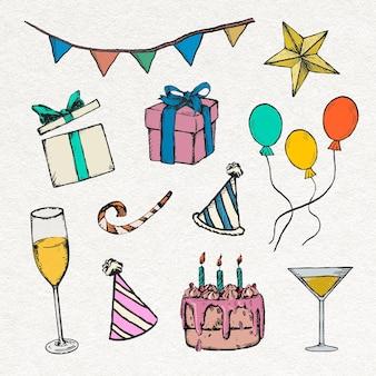 Verjaardagsfeestje decoraties sticker kleurrijke vintage illustraties set