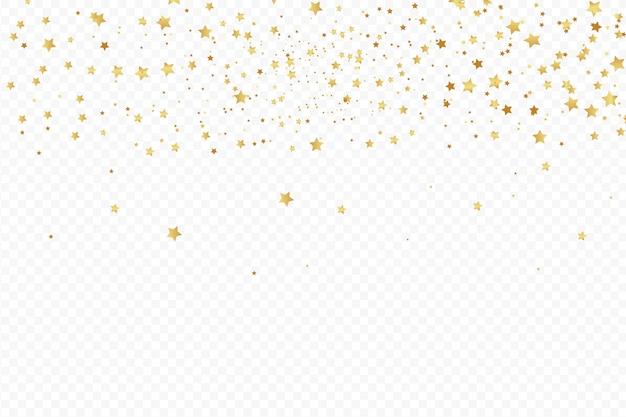 Verjaardagsfeestje element a vier gouden confetti geïsoleerd op een witte achtergrond.
