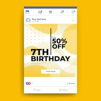 Verjaardagsfeestje facebook post-sjabloon