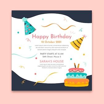Verjaardagsfeestje in het kwadraat sjabloon folder