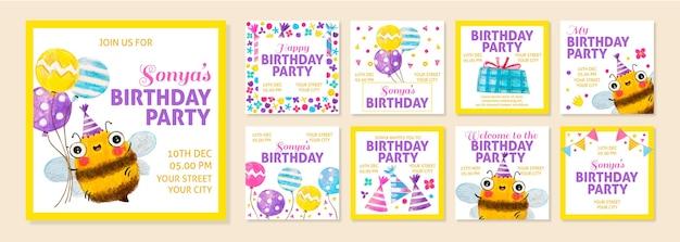 Verjaardagsfeestje instagram-berichten