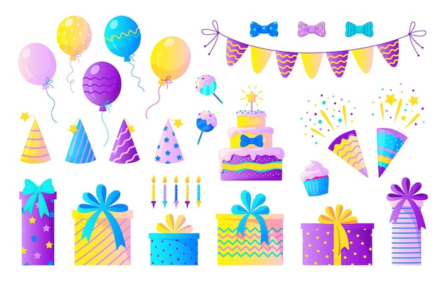 Verjaardagsfeestje instellen. decoratieve elementen voor kinderfeestjes, kleurrijke confetti ballonnen kaarsen