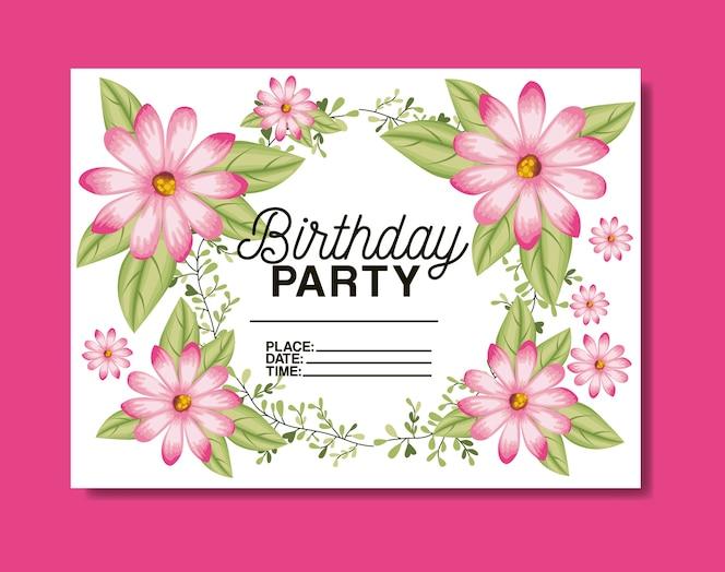 Verjaardagsfeestje kaart met florale frame