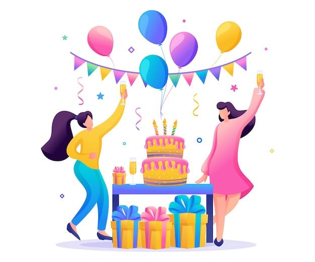 Verjaardagsfeestje met vrienden. mensen dragen cadeautjes, ballonnen, een grote taart met kaarsen, dansen en vieren de vakantie.