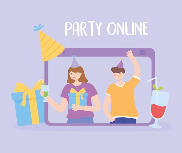 Verjaardagsfeestje online, mensen met drankjes cadeau en hoeden vector illustratie
