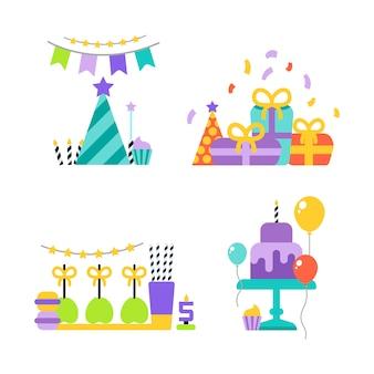 Verjaardagsfeestje set pictogrammen of elementen