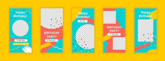 Verjaardagsfeestje sociale media sjabloon voor spandoek