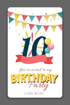 Verjaardagsfeestje uitnodiging kaartsjabloon vectorillustratie eps10