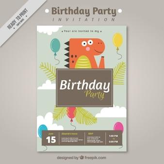 Verjaardagsfeestje uitnodiging met dinosaurus