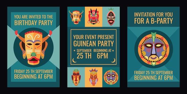 Verjaardagsfeestje uitnodigingskaarten ontwerpset met tribale maskers