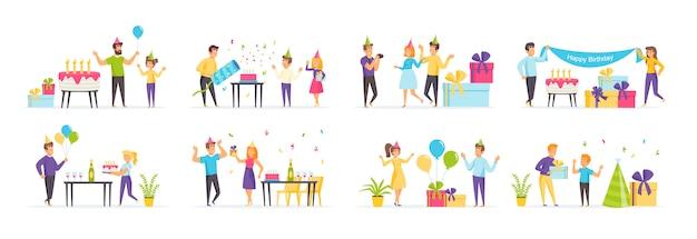 Verjaardagsfeestje voor kinderen met personages in verschillende scènes en situaties.