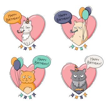 Verjaardagsgroeten met katten in roze harten