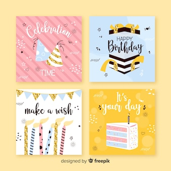 Verjaardagskaart collectie in vlakke stijl