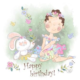 Verjaardagskaart! een klein meisje met een konijn.