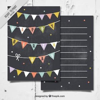 Verjaardagskaart in gewoon stijl met slingers