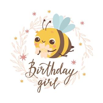 Verjaardagskaart meisje met bij