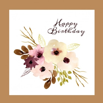 Verjaardagskaart met aquarel bloemen