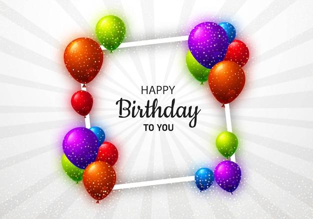 Verjaardagskaart met ballonnen viering achtergrond Gratis Vector