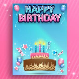Verjaardagskaart met cake, ballons en kaars
