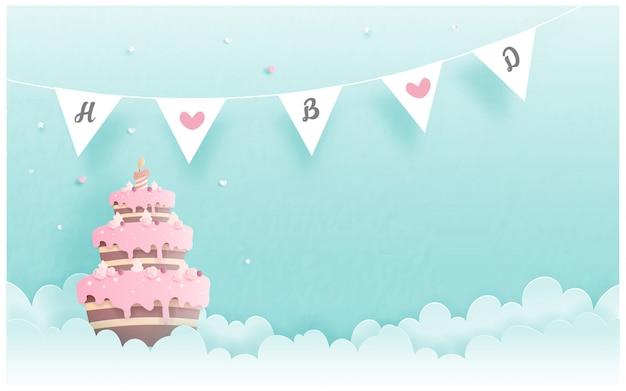 Verjaardagskaart met cake in papier gesneden stijl. vector illustratie